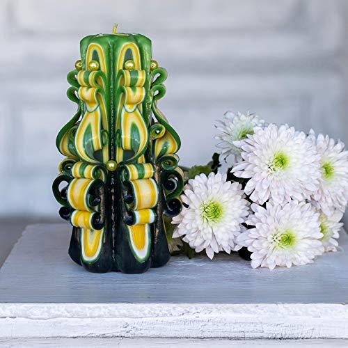 Grüne und gelbe handgeschnitzte Kerzen - Kerzen für Chanukka mit 6 Dochten