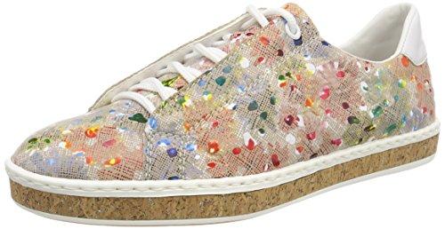 Rieker M85b8, Zapatos de Cordones Derby para Mujer, Multicolor (Ginger-Multi/Weiss), 36 EU