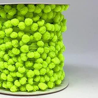 Berties Bows Bright Lime Green 10mm diameter pom pom trim sold on a 25m Roll