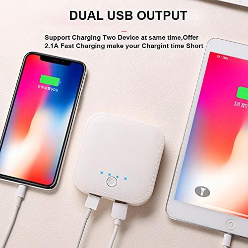 GLNuoke Banco de energía 10000mAh Mini Banco de Energía Batería Externa Doble Salida USB Powerbank para Huawei iPhone Android Samsung Teléfono Móvil Poverbank (Color: Blanco)
