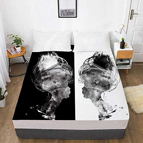 lhmlyl Fitted Sheet 3D Digital Home Textile Factory Bed Sheet Bedspread Mattress Protector Abstract-Abstract 016-White-F_183X214X40Cm