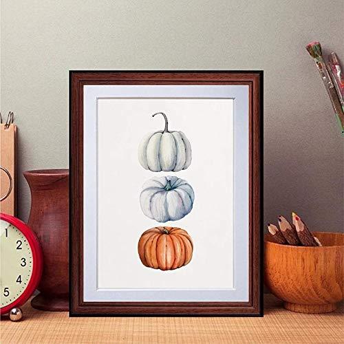 Aquarell Kürbis Druck Herbst Ernte Kunst Poster Halloween Wandkunst Leinwand Gemälde Bild Thanksgiving Dekoration Kein Rahmen-30X40cm
