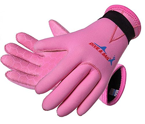 DIVE & SAIL 3mm Kids Neoprene Skid-Proof Wetsuit Gloves for Surf Snorkeling Diving (Pink, L)