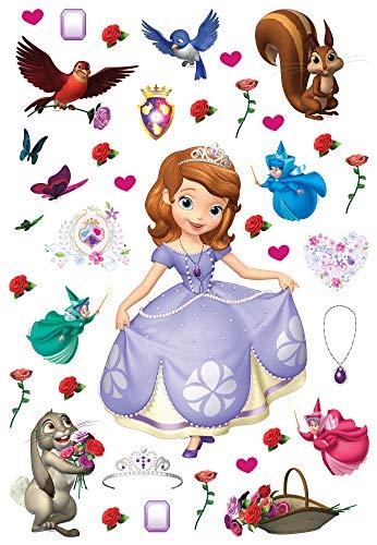 1art1 Princesse Sofia Sticker Adhésif Mural Autocollant - Clover, Whatnaught, Good Fairies Flora (65 x 42 cm)