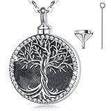 CELESTIA 925 Sterling Silber Baum des Lebens Urne Halskette für Asche, Einäscherung Asche Schmuck Andenken Denkmal von Nana Opa Mama Papa Ehepartner