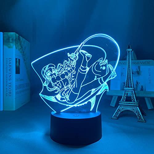 Lámpara de ilusión óptica 3D de anime, luz 3D Revue Starlight Claudine para niños, dormitorio, decoración, lámpara de noche, manga, regalo para su escritorio, lámpara de mesa Revue con estrellas DGNYJ