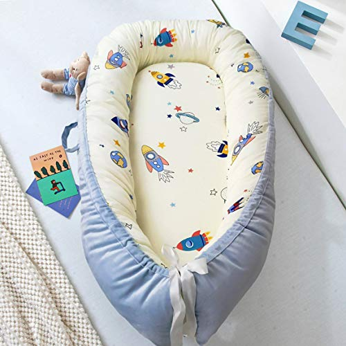Ustide Fashion Baby Bed Newborn Infant Co-Sleeping Portable 100% Breathable Cotton Baby Bassinet Blue with White Space Print Pod Comfortable Baby Nest Cot