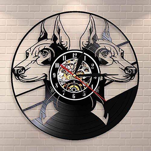 FDGFDG Doberman Pinscher Reloj de Pared Razas de Perros Cabeza Retratos Doberman Animales Cachorro Vinyl Record Reloj de Pared Reloj Perro Amantes de Las Mascotas Regalo