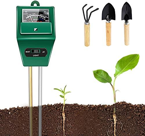LOVVIY Soil pH Meter Set, Soil Moisture Meter Set, 3 in 1 Soil Tester Kits with Soil Moisture/Light/pH Tester for Plants, Gardening Tool Kit for Garden, Lawn, Farm, Indoor & Outdoor Use