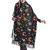 Sciarpa, Scialle & Avvolgere Alberi di Natale Cervi E Uccelli Donna Moda Inverno Caldo Cashmere Sciarpa Scialli