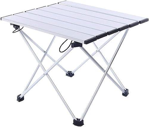 RLY Table De Camping, Table Pliante Légère Avec Dessus De Table En Aluminium Et Sac De Transport, Facile à Transporter (Couleur   blanc, Taille   40  34  32cm)