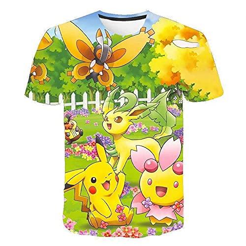 SK-LBB Pikachu Jungen T-Shirt,Sommer Kurzarm Herren T-Shirt,Unisex Japanischer Anime Lustig T-Shirt,3D Gedruckte Rundkragen Tops T-Shirt (Stil 9,140)