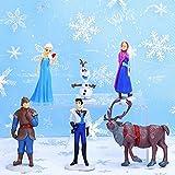 Babioms 6Pcs Mini Juego de Figuras Niños, Fiesta de cumpleaños Pastel Decoración Suministros, JPrincesa Congelada Cake Topper