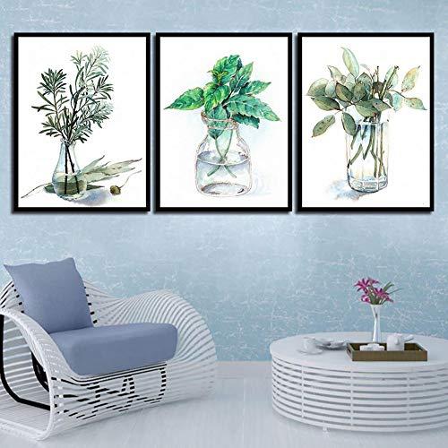 RHBNVR HD-druk canvas schilderij minimalistische glazen fles groene plant poster fris 3 stuks canvas schilderij kunstdruk wandafbeeldingen woonkamer decor