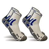 2 Pares Calcetines running tecnicos, calcetines de deporte (Blanco, S)