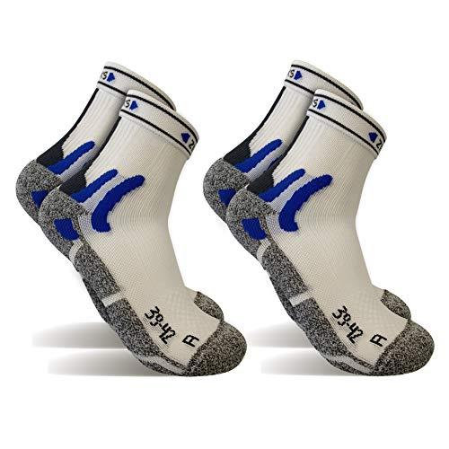2 Pares Calcetines running tecnicos, calcetines de deporte (Blanco, L)