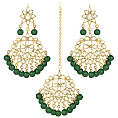 DIMENSIONS: Earring Height - 3.5 x Width - 2.5 inches, Maang Tikka Length - 5.7 x Width - 2.5 inches BRAND: Aheli is your one stop destination for making any given day an occasion. We understand that your jewels are more than just accessories. OCCASI...