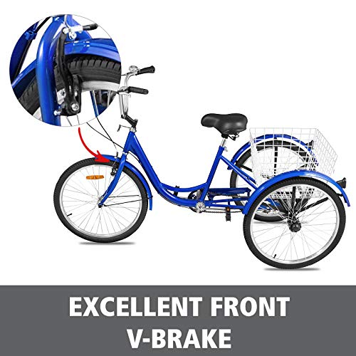 Happybuy Adult Tricycle Single Three Wheel Bike 24inch Seat Adjustable Trike with Bell Brake System and Basket Cruiser Bicycles Large Size for Shopping(24 Blue Single)