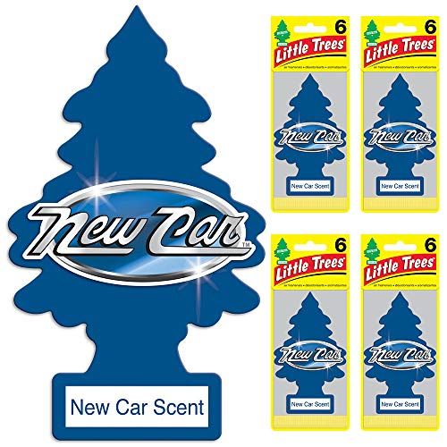 Little Trees - U6P-60189-AMA LITTLE TREES Car Air Freshener - Hanging Tree Provides Long Lasting Scent for Auto or Home - New Car Scent, 24 count, (4) 6-packs