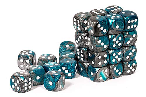 Chessex Dice, D6 12mm Steel & Teal w/White (36)