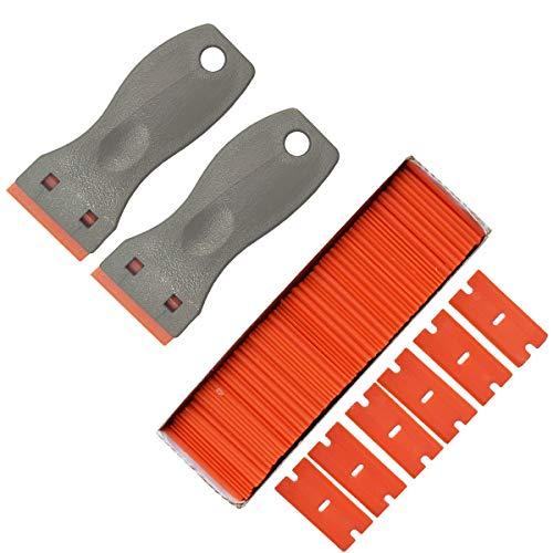 Plastic Razor Blade Scraper, 2 Pack Scraper Tool with 100 Pack Plastic Razor Blades Decal Sticker Remover Scraper Tool for Auto Window Tint Vinyl Tool Application, Easily Remove (GRAY)
