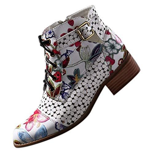 DFNNMXZ Dames laarzen Vrouwen Laarzen Mode Inkt Schilderen Bloem Patroon Lederen Splicing Vetersluiting Enkellaarzen Vrouwelijke Schoenen Plus Maat 43 WH