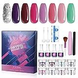 Luckyfine 8 Farben Dip Pulver Nagel Starter Kit, DIY Dip Powders Nail Art Set, Mit Basislack & Decklack & Aktivator & Brush Saver und 10 Nail Polish Remover Pads, Geschenke für Frauen