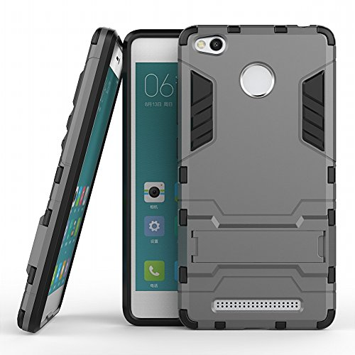 DWaybox Xiaomi Redmi 3 PRO Armor Custodia 2 in 1 Hybrid Heavy Duty Hard Back Cover Custodia per Xiaomi Redmi 3 PRO/Redmi 3 Stand Custodia with Kickstand (Gray)