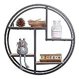Estante de pared redondo Estantes flotantes de madera y hierro montados en la pared Estante de exhibición de metal decorativo industrial Soporte de artesanía decorativo para la sala de estar oficina