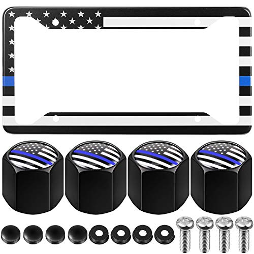 Blue Lives Matter USA Flag License Plate Cover with Screws and 4 Pieces American Flag Tire Valve Stem Caps Aluminum Flag Themed License Plate Holder Patriotic Auto Car Tag