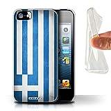 Stuff4 Coque Gel TPU de Coque pour Apple iPhone 5/5S / Grèce/Grec Design/Drapeau Collection
