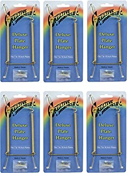 Creative Hobbies Deluxe Plate Display Hangers Spring Style - Assembled & Ready to Use - Hold 7 to 10 Inch Plates- Gold Wire Spring Type Hanger Hooks & Nails Included -Pack of 6 Hangers