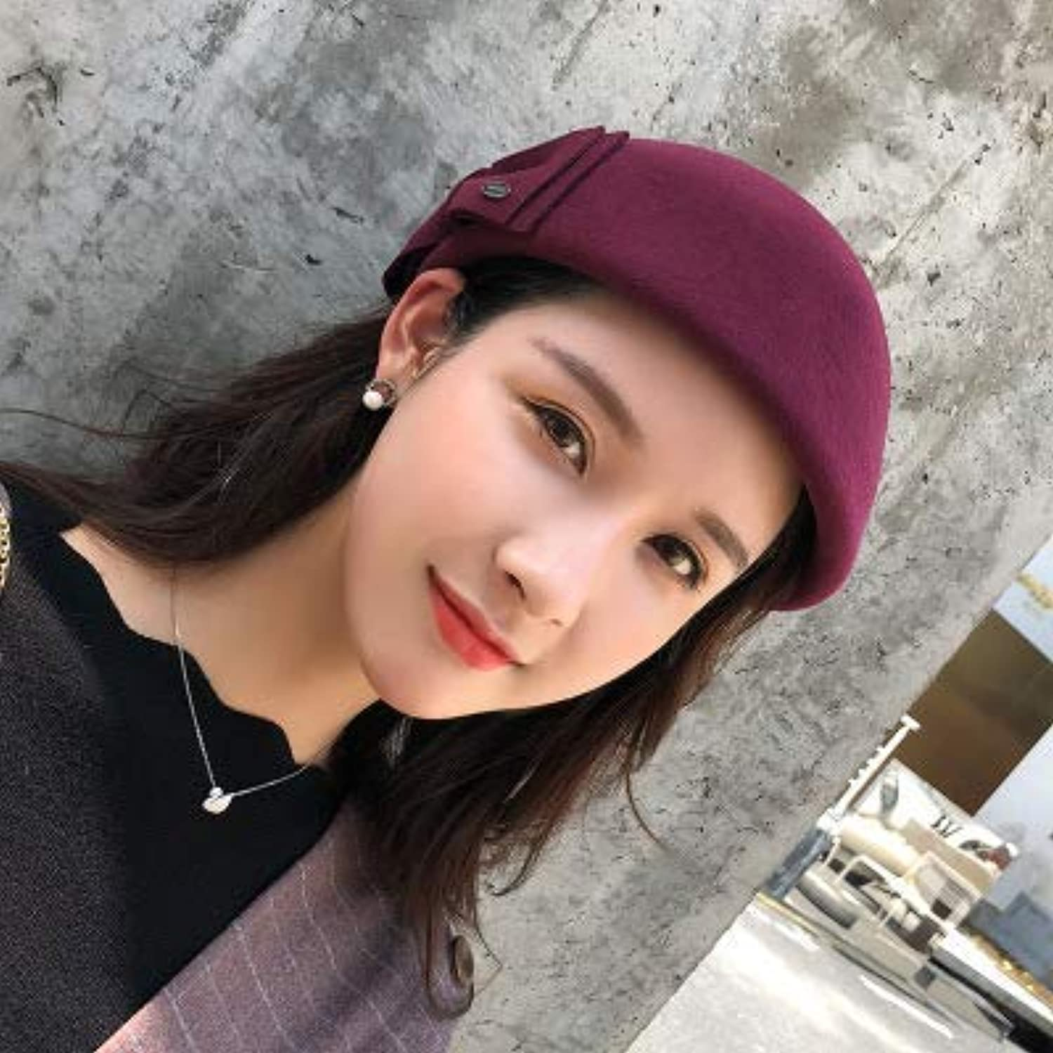 Sports Hat Home Hat Female British Retro hat Autumn and Winter European and American Painter hat Fashion Wool Warm Bow tie Bud Cap (color   Burgundy, Size   M(56-58cm)) Outdoor Cap