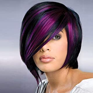 aSulis Short Hair Wigs Purple Pink Highlight Straight Synthetic Colorful Cosplay Daily Party Wig ¡­