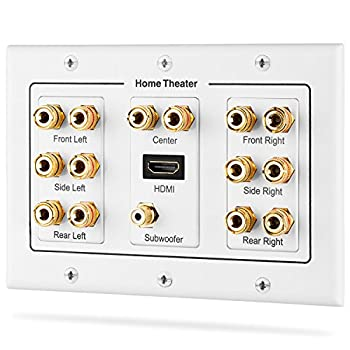 Fosmon HD8006 3-Gang 7.1 Surround Distribution Home Theater Gold Plated Copper Banana Binding Post Coupler Type Wall Plate for 7 Speakers 1 RCA Jack for Subwoofer & 1 HDMI Port