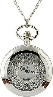 Hemobllo Classic Pocket Watch Quartz Fob Vintage Retro Pocket Watches Pendant with Chain for Men Women (Silver)