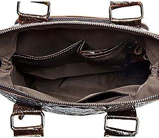 FYXKGLan Men's Genuine Leather Crocodile Print Male One-Shoulder Bag (Color : Coffee)