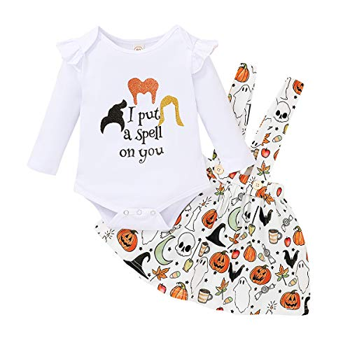 Baby Girl Halloween Outfit Ruffle Sleeve Romper+Pumpkin Suspender Skirt 2pcs Clothes Set (White, 3-6 Months)