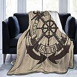 HATESAH Manta de Franela Suave,Bandera de yelmo de Ancla de Color Otoño,Cama de Camping para sofá 153x127cm