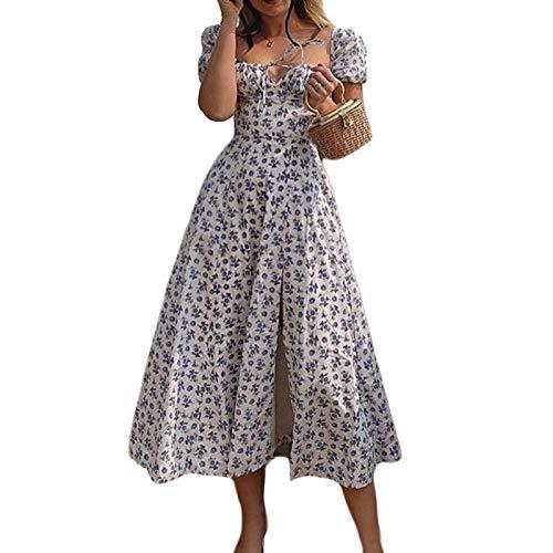 Vestito Maxi Abito da Donna Stampa Floreale Scollo Quadrato Maniche Corte Sbuffo a Spacco Laterale Francese Chic Vintage Slim Sexy Estate (Blu, M)