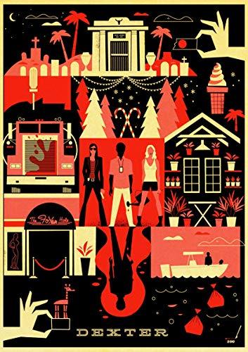 hahastore Vintage Wandaufkleber Michael C. Hall Dexter Poster Klassisches Poster Art Deco TV-Serie Gemälde 50 * 80 cm (randlos)