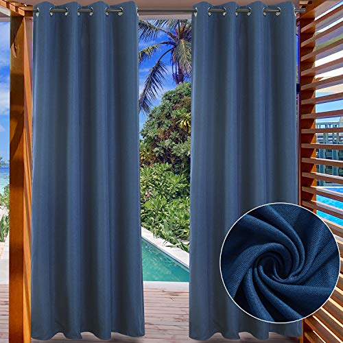 LIFONDER Patio Outdoor Curtains - Silver Grommet Blackout Drape Shade Blind Curtain Panel for Canopy/Pergola/Yard Privacy, Navy Blue, W52 by L108 Inch, 1 Pc
