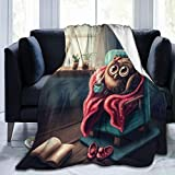 Cute Owl Drinking Coffee Soft Throw Blanket All Season Microplush Warm Blankets Lightweight Tufted Fuzzy Flannel Fleece Throws Blanket for Bed Sofa Couch