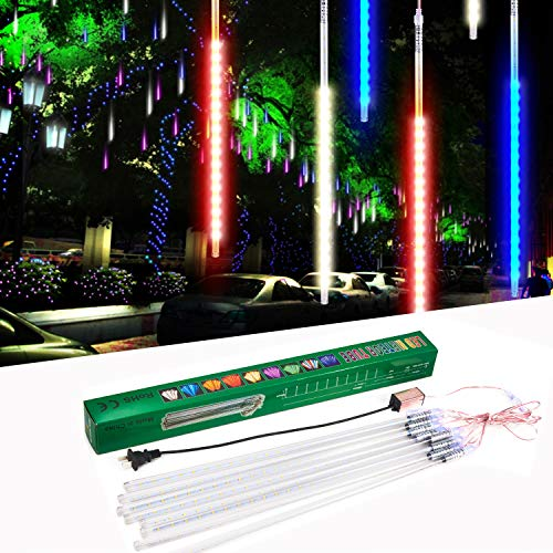 suily Meteor Shower Light, 50cm 8 Tube LED Falling Rain Drop Icicle String Lights for Christmas Tree Halloween Decoration Holiday Party Wedding (50cm, Colorful)