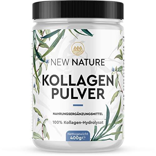 Kollagen Pulver von New Nature - 100% reines hydrolysiertes Kollagen mit 93% Protein - Mit Aminosäuren und Peptiden – 400g