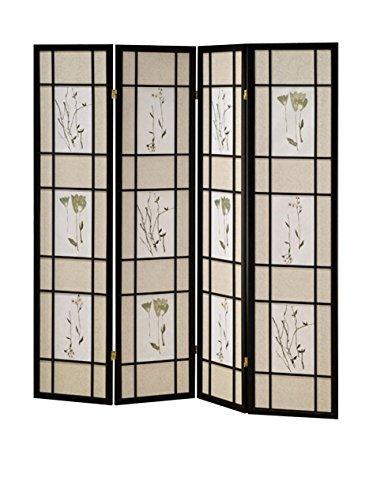 ORE Furniture International 4-Panel Shoji Screen, Black by ORE Furniture