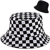 MengH-SHOP Sombrero de Pescador Algodón a Cuadros en Blanco y Negro Plegable Reversible Gorros de Pescador Aire Libre Unisex Sombrero Bucket Hat para Excursionismo Cámping de Viaje Pescar (56-58cm)