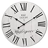 ALNHF 24 Inch Inspritional Quiet Large Rustic Wooden Wall Clock – Non-Ticking Big Farmhouse Roman Numerals Quartz Noiseless Clock - Distressed White Wood Wall Clocks for Indoor Room Decor