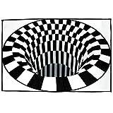 Jzenzero 3D Swirl Print Optical Illusion Areas Rug Carpet Floor Pad Non-Slip Doormat Mats for Living Room Bedroom Office etc