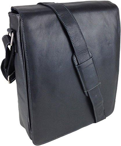 Unicorn Vera Pelle Fino 13,9 Pollici Borsa del Computer Portatile Netbook Ultrabook Borsa Nero Messenger Bag #6L